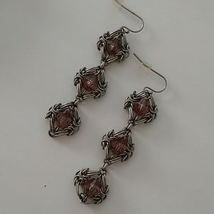 Silver wire stone earrings new with tags